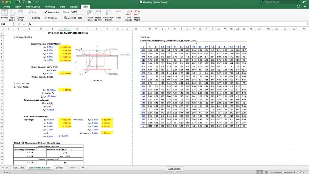 فایل اکسل محاسبه اتصال فلزی تیر به تیر - civilyفایل اکسل اتصال فلزی تیر به تیر